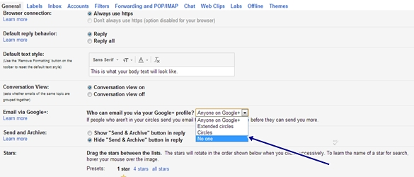 Email Via Google settings