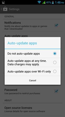 auto update app  setting