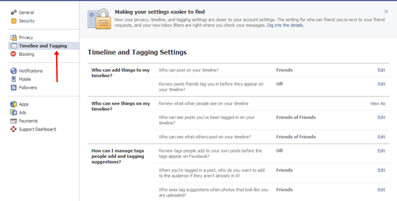 Go to Timeline and tagging settings