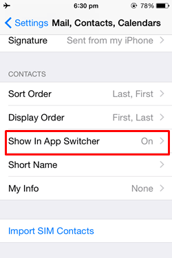 app switcher setings iPhone