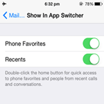 Remove Favorite and Recent Contacts in iPhone 6 App Switcher