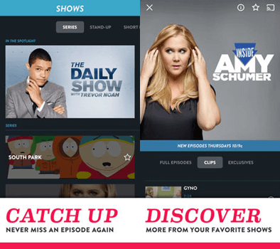comedy central iPhone Tv app