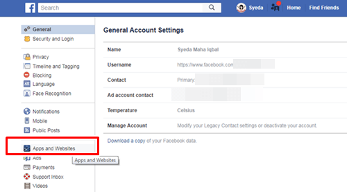 Facebook Apps and website settings