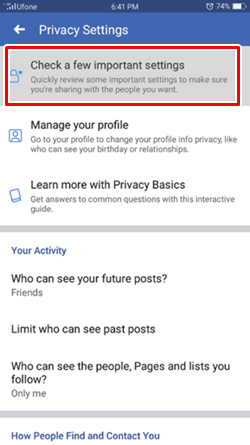 check settings android Facebook