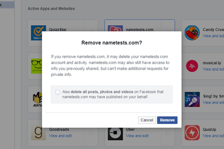 removing app Facebook
